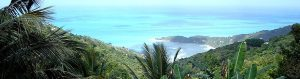 Looking down at Tortola bay from the hills of this British Virgin Island